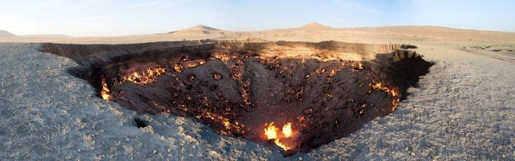 The hole, found in the village of Darvaza, is about 230 feet wide and 66 feet deep.