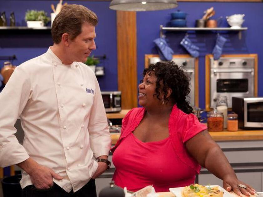 """Bobby Flay and Carla Johnson on the fourth season of Food Network's """"Worst Cooks in America."""""""