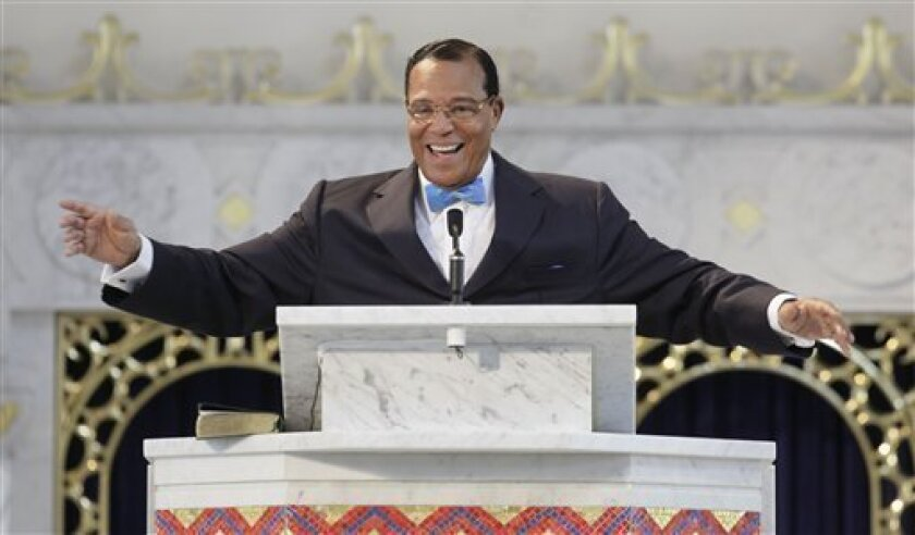 Nation of Islam Minister Louis Farrakhan speaks during a news conference, Thursday, March 31, 2011, in Chicago, where he discussed his views and advice for President Barack Obama concerning the U.S. involvement in Libya. (AP Photo/M. Spencer Green)