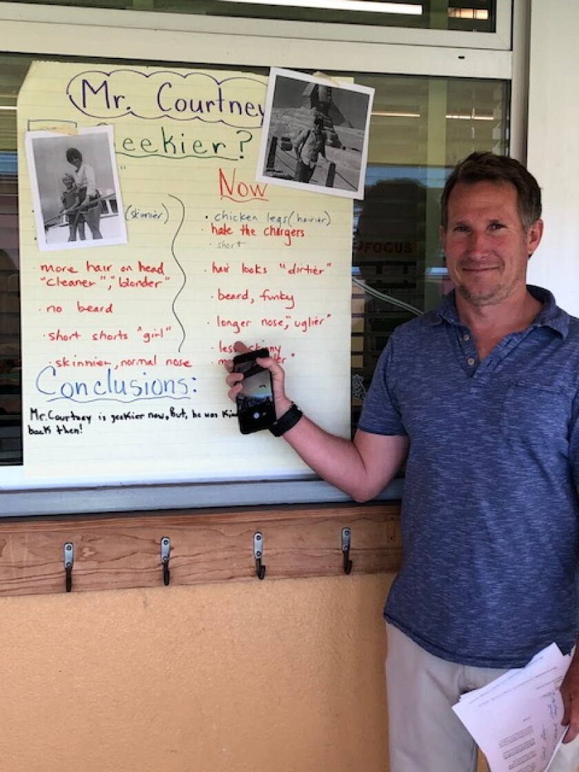 Teacher Thomas Courtney outside his fifth-grade classroom at Chollas-Mead Elementary School.