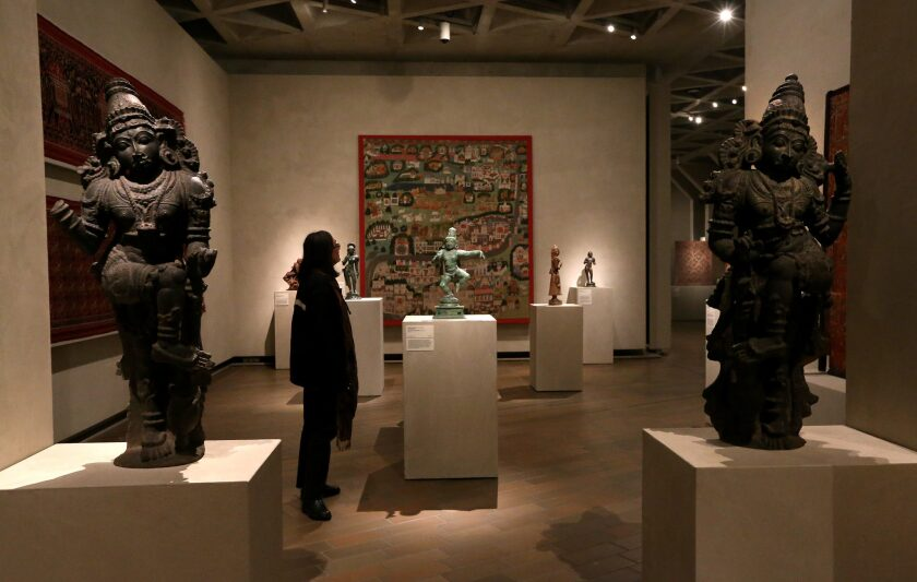 In 2005, the National Gallery of Australia purchased a pair of 15th century stone Dwarapalas, foreground, or door guardians, for nearly $500,000. Ownership records for the pair state they were purchased by a New York collector in Calcutta in 1971.
