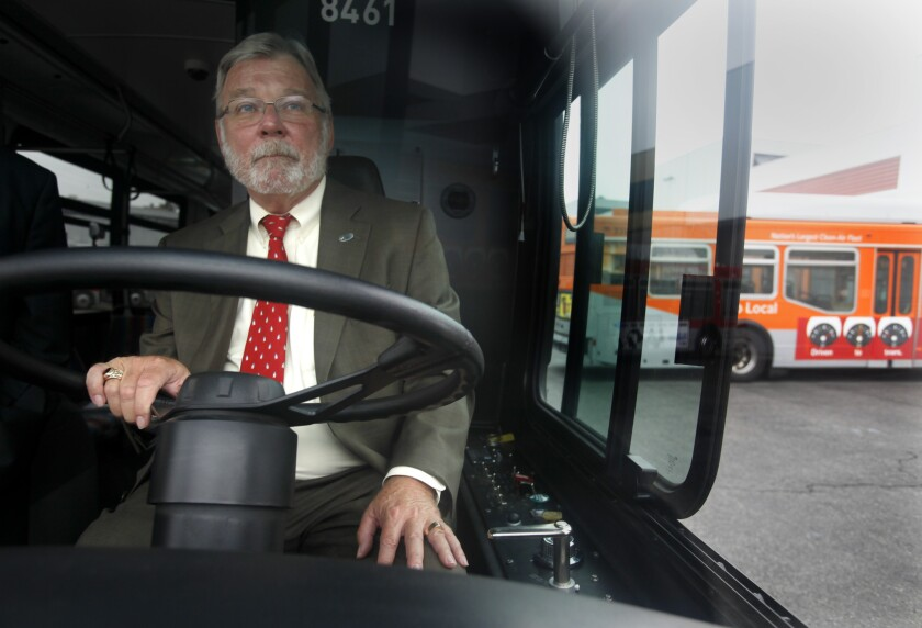 Metro Chief Executive Art Leahy drives a bus through the agency's yard in Los Angeles on national Dump the Pump day on June 16.