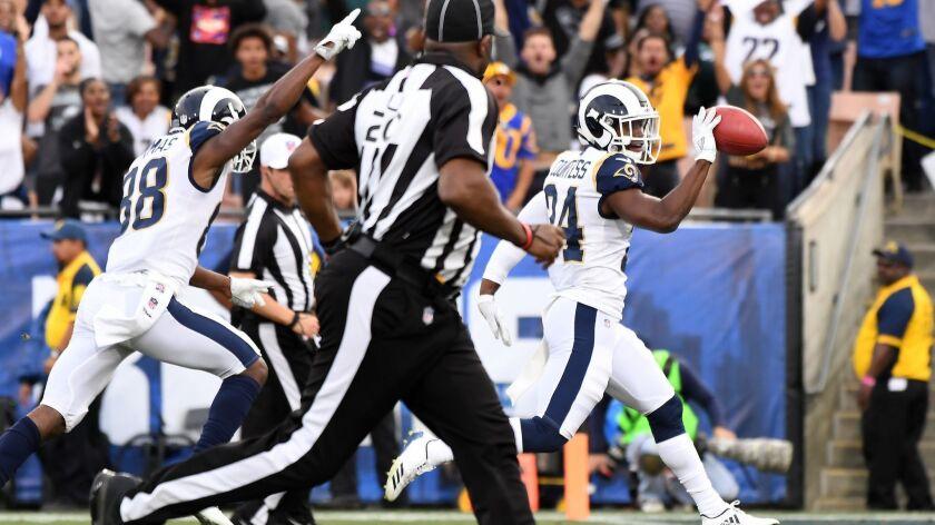 LOS ANGELES, CALIFORNIA DECEMBER 10, 2017-Rams speacial teams player Blake Countess returns a blocke