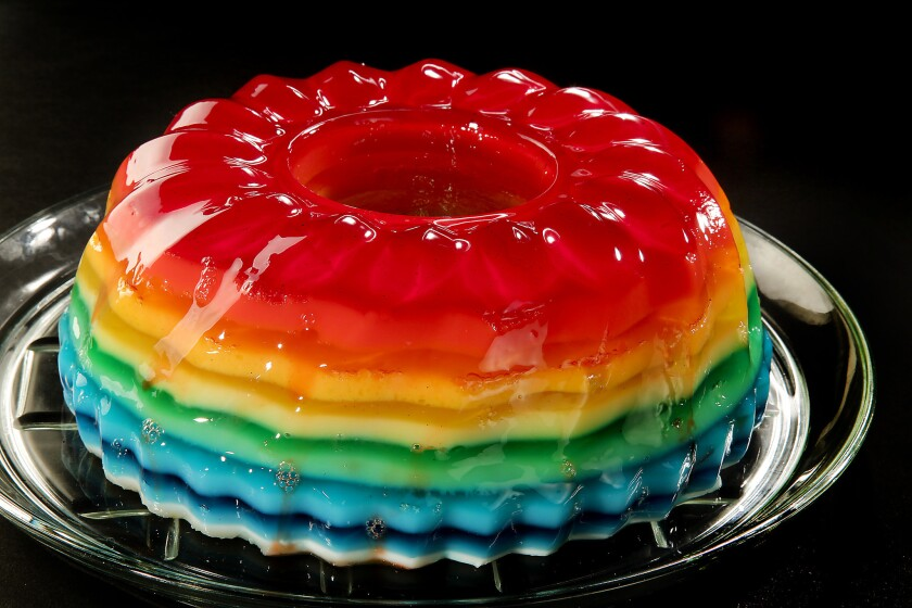 LOS ANGELES, CA., MARCH 22, 2018--Jello molds are a brightly colored dessert made of sweetened refri