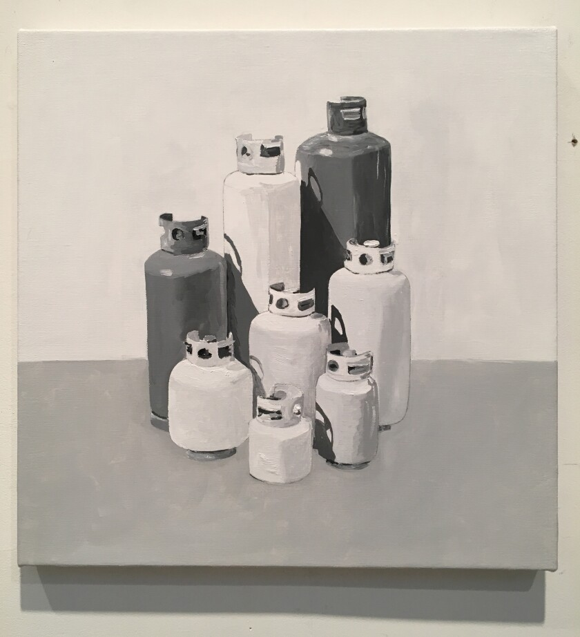 """Propane Tanks"" by Robert Levine, 2019. Oil on canvas, 18 inches by 18 inches"