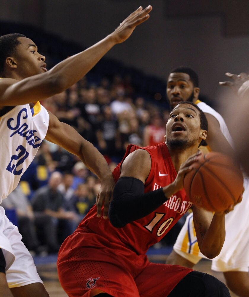 San Diego State's Aqeel Quinn, right, looks to shoot as San Jose State's Isaac Thornton guards during the first half.