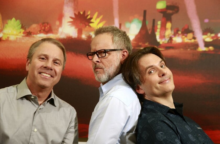 The 'Zootopia' filmmakers, from left, producer Clark Spencer and directors Rich Moore and Byron Howard, found the balance between message and entertainment.