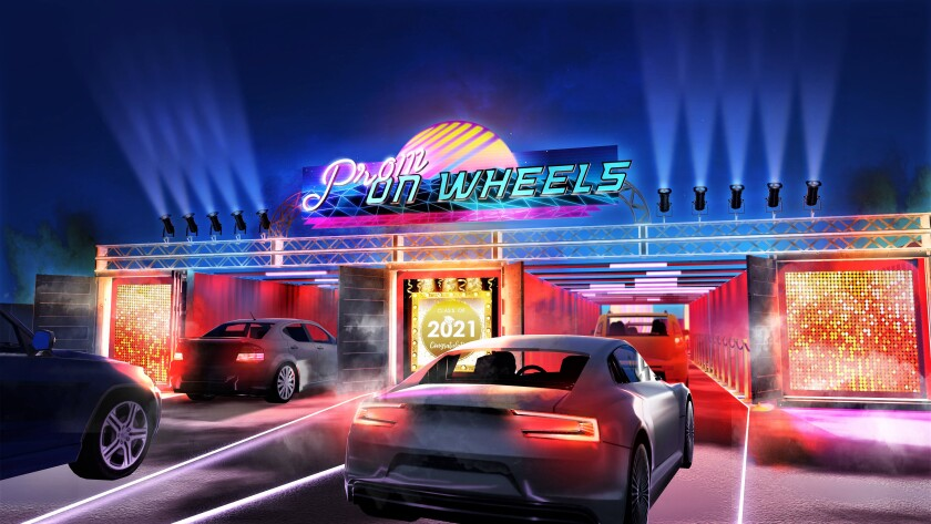 A rendering of Prom on Wheels, a drive-through prom developed by Newport Beach event planner Hollie Keeton.