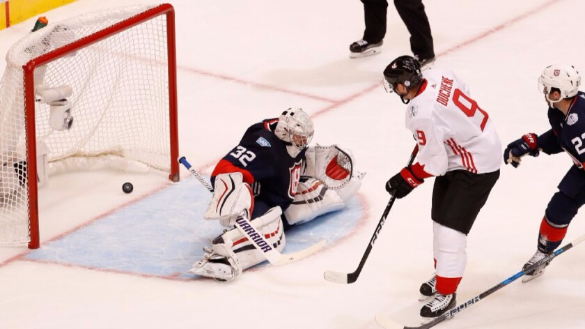 U.S. goalie Jonathan Quick can't stop a shot by Canada's Matt Duchene during a World Cup of Hockey game on Sept. 20.