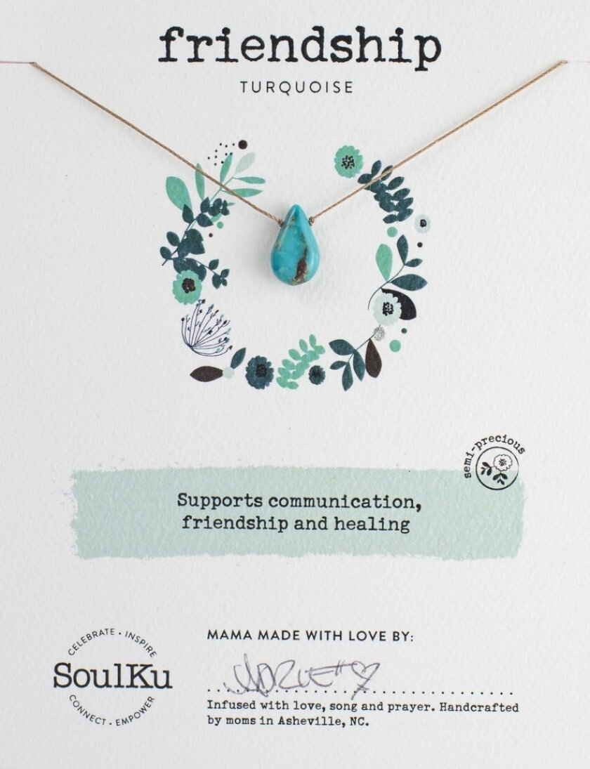 A SoulKu necklace, handmade and signed by a stay-at-home mom, is available for sale at Urban Girl Accessories, with three stores in San Diego.