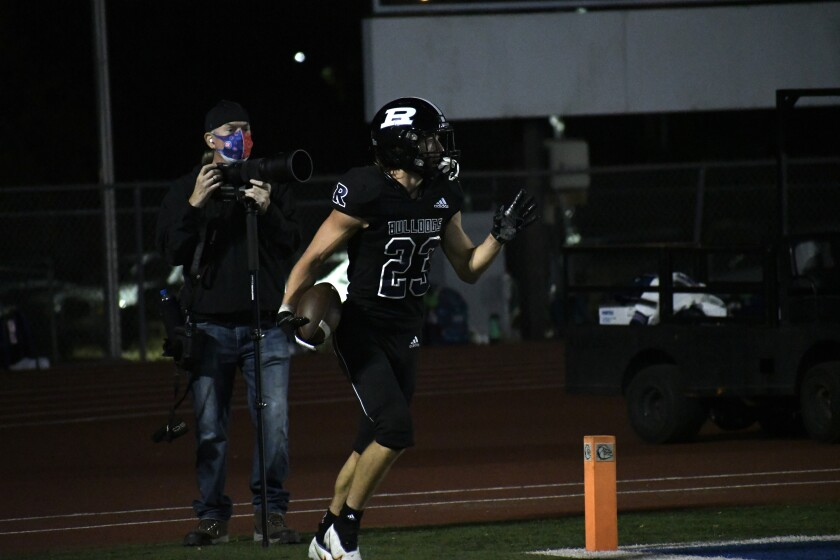 Ramona running back Cash Jones scored three of the touchdowns at the Sept. 17 game against Fallbrook High.