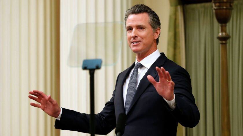 California Gov. Gavin Newsom delivers his first State of the State address before a joint session of the California Legislature in Sacramento on Feb. 12.