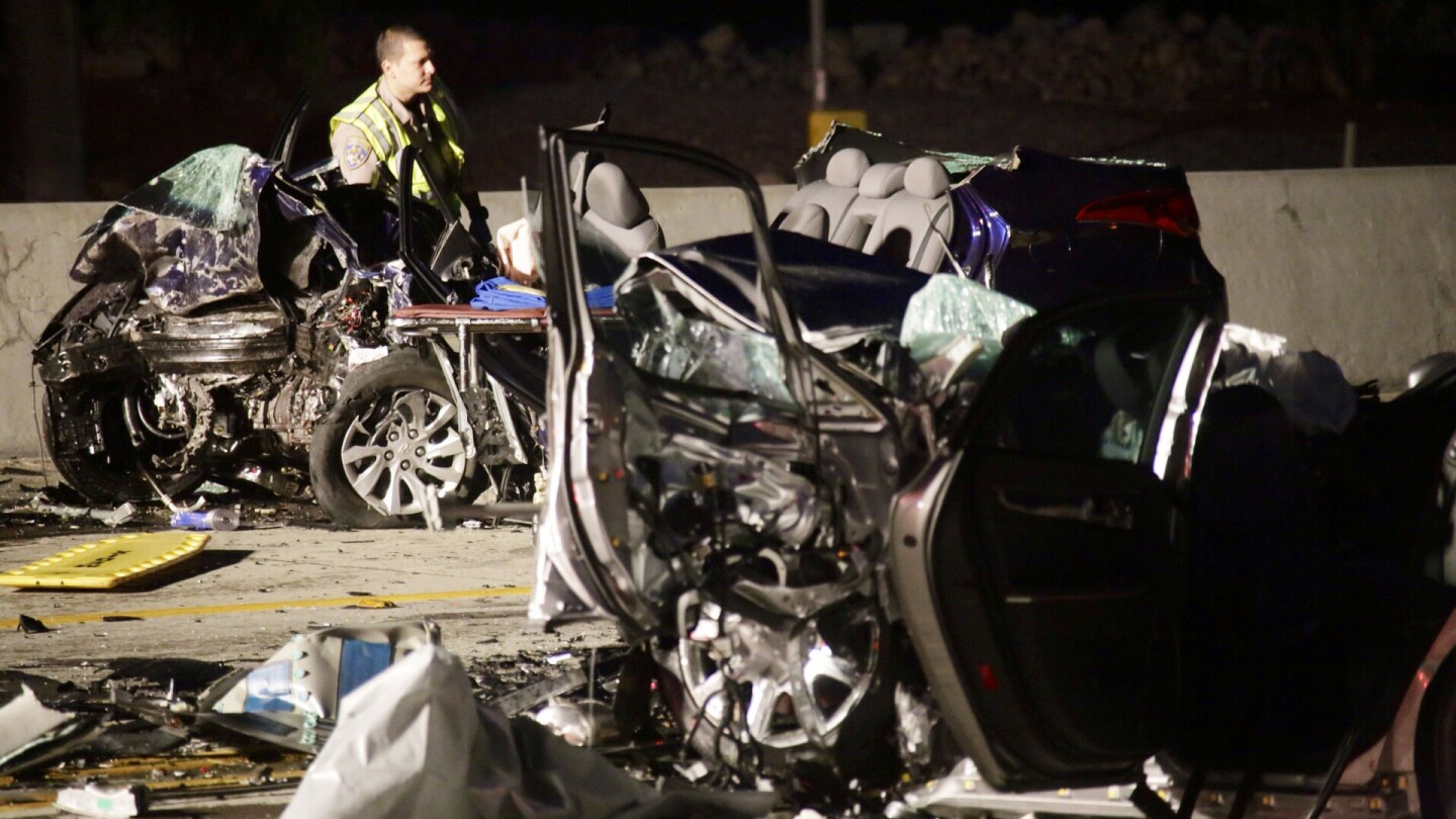 Three people died after a crash on the 210 Freeway early Sunday in Rancho Cucamonga. Authorities said one of the vehicles was heading the wrong way on the freeway.