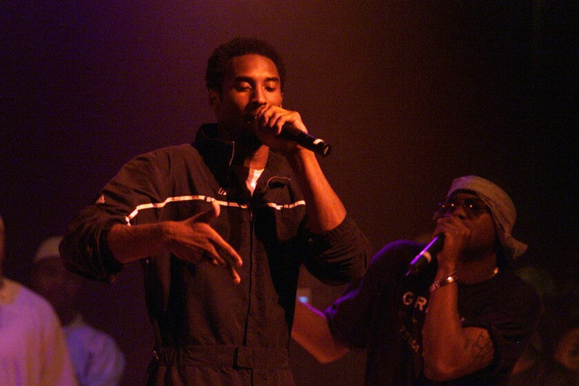 Lakers superstar Kobe Bryant raps at the House of Blues in 2000.