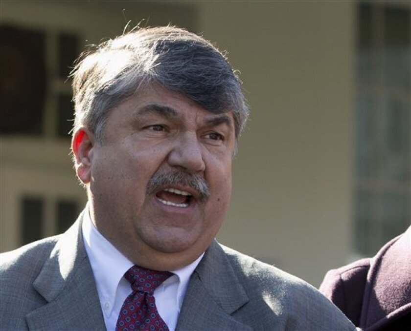 FILE - This Nov. 13, 2012 file photo shows AFL-CIO President Richard Trumka speaking to reporters outside the White House in Washington. The nation's labor unions suffered sharp declines in membership last year, the Bureau of Labor Statistics said Wednesday, led by losses in the public sector as cash-strapped state and local governments laid off workers and _ in some cases _ limited collective bargaining rights. (AP Photo/Carolyn Kaster, File)
