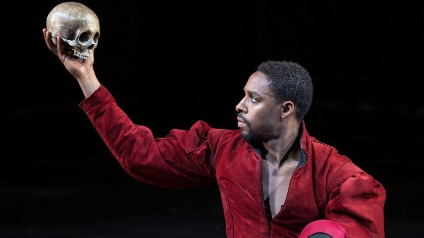 Grantham Coleman in the title role of Hamlet, by William Shakespeare, directed by Barry Edelstein, r