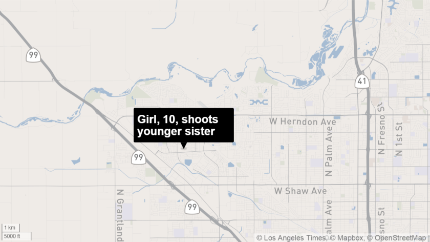 Girl, 10, shoots younger sister with her father's gun. Her father is a deputy with the Madera County Sheriff's Department.