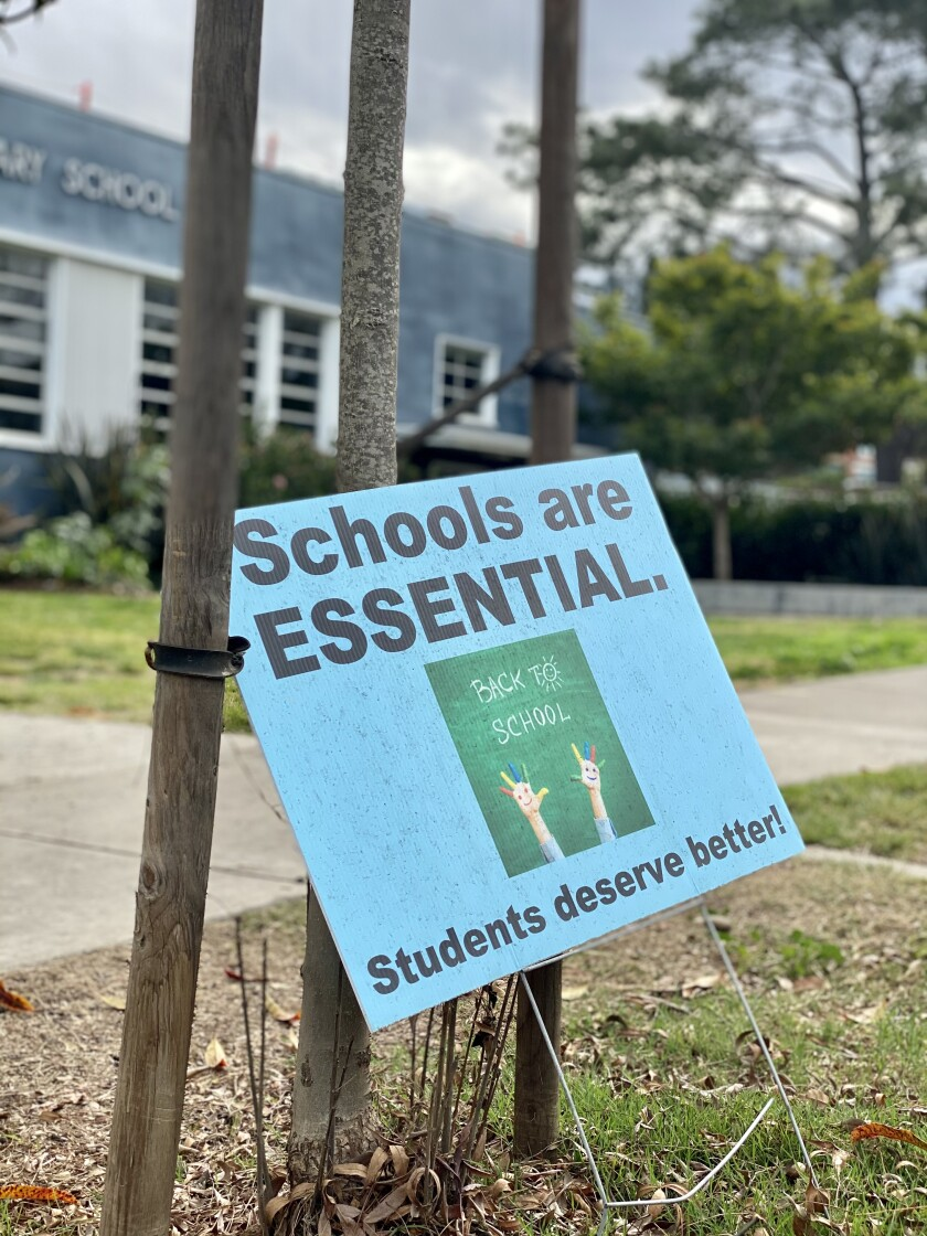 A sign seen Jan. 20 outside La Jolla Elementary School echoes some parents' concerns.