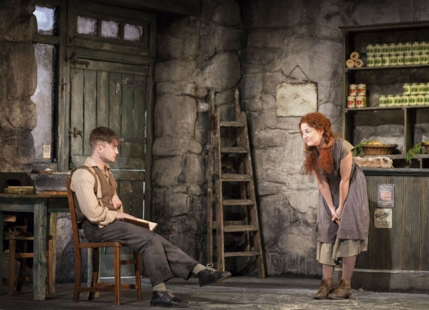 "Daniel Radcliffe, left, and Sarah Green performing in ""The Cripple of Inishmaan"" at the Cort Theatre in New York."