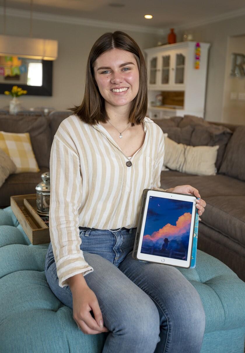 Edison High School senior Faith Riehm displays one of her digital art pieces.