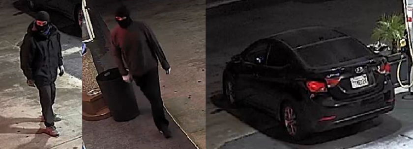 Authorities are searching for a pair accused in a series of burglaries at gas stations across San Diego County.