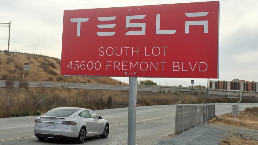 Outside Tesla Fremont plant