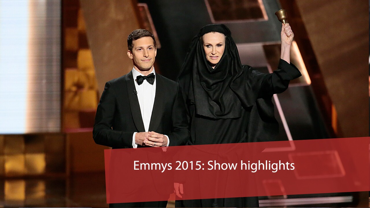 "Host Andy Samberg tells the audience that winners who take too long with their acceptance speeches will be told to leave by the weird nun from ""Game of Thrones,"" here played by Jane Lynch."