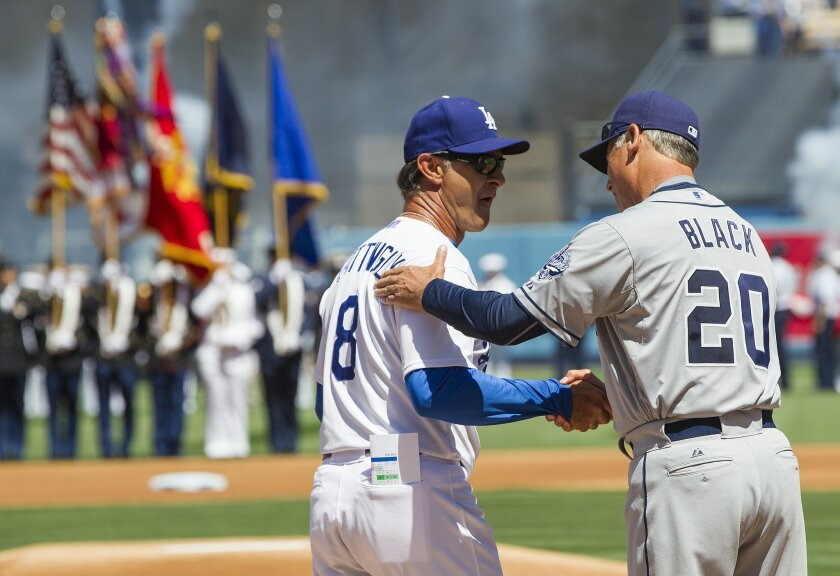 The San Diego Padres open the 2015 season at the Los Angeles Dodgers. Padres Manager Bud Black and Dodgers Manager Don Mattingly share a handshake prior to the game.