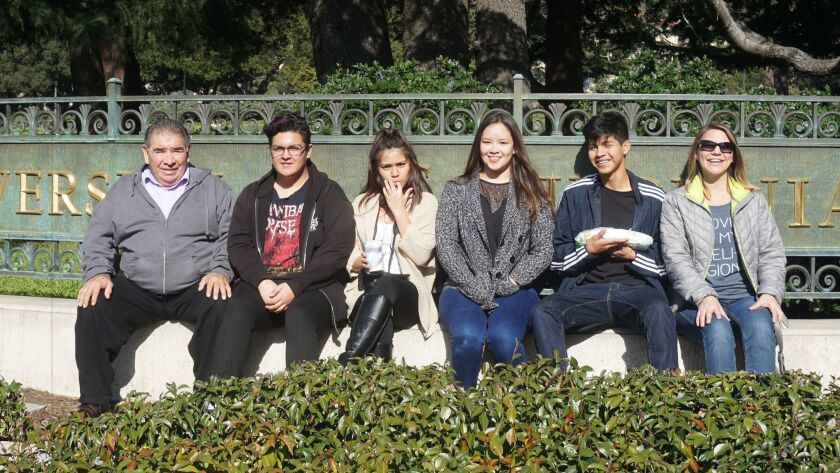 Four Valley High School students attended the Young Worker Leadership Academy recently at UC Berkeley. Pictured, L-R: masonry/cabinetry teacher Alejandro Lopez, students Jaime Alvarez, Paloma Gonzales, Lea Rodarte and Jose Rincon, and English teacher Letha Morrison.