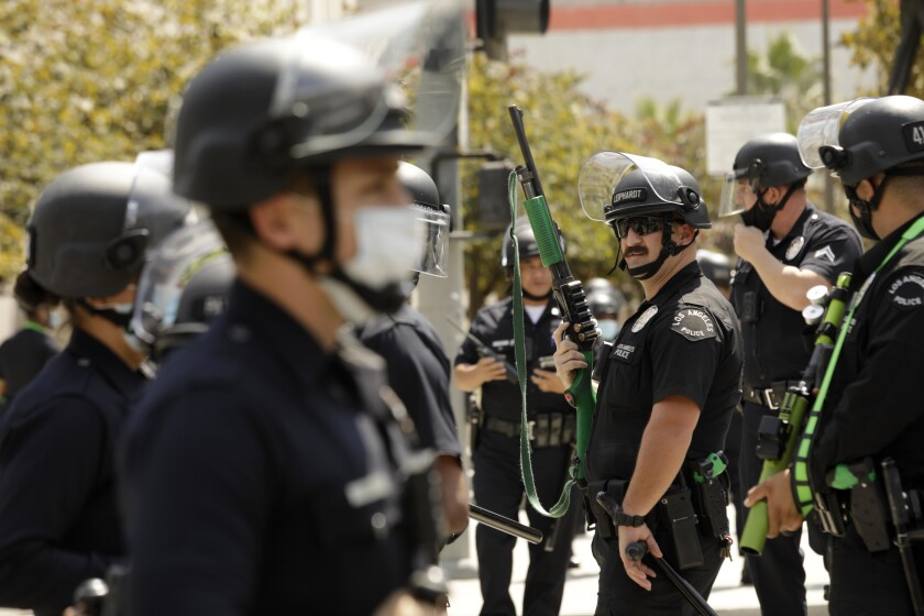 Los Angeles police officers are shown in downtown Los Angeles