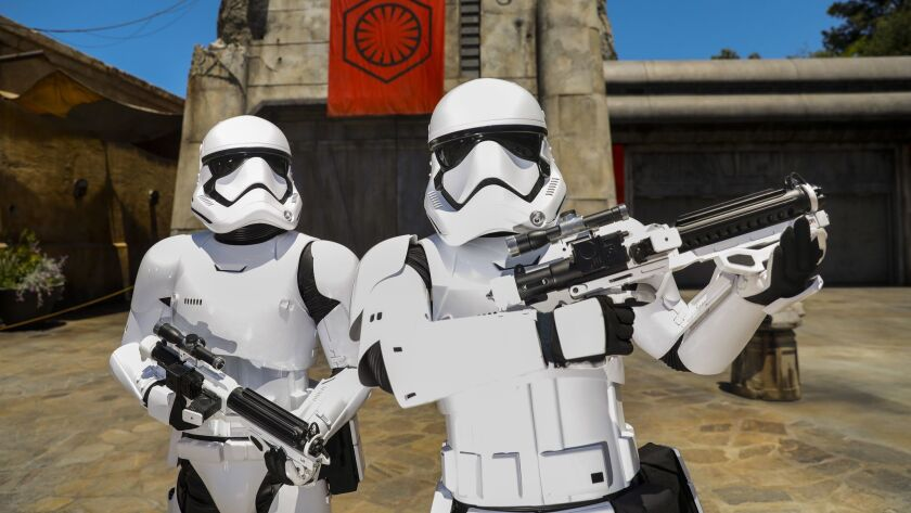 """ANAHEIM, CA--MAY 29, 2019--Storm Troopers pose in the First Order Cargo area, inside the new """"Star W"""
