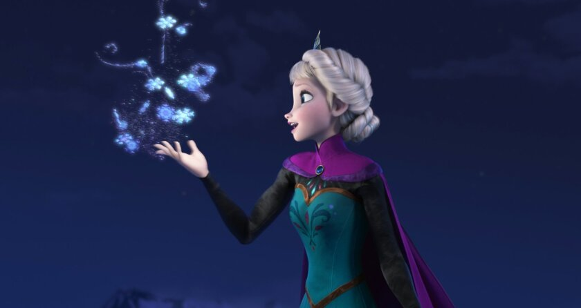 """FILE - This file image provided by Disney shows Elsa the Snow Queen, voiced by Idina Menzel, in a scene from the animated feature """"Frozen."""" According to studio estimates Sunday, Jan. 5, 2014, Disney's """"Frozen"""" remained atop the box office with $20.7 million, freezing out the horror spinoff """"Paranor"""
