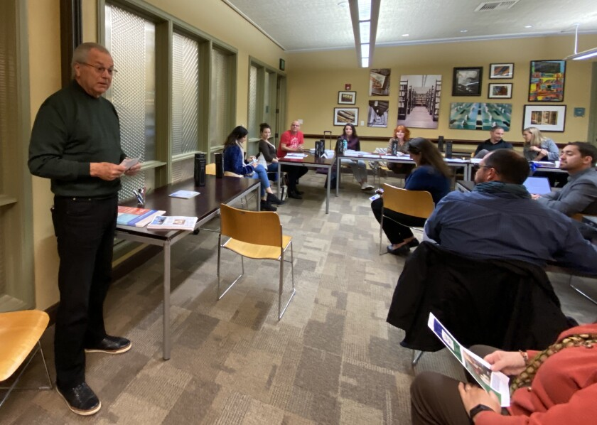 John Unbewust, district manager of La Jolla Maintenance Assessment District (MAD), gives a progress update to the La Jolla Village Merchants Association board at its Jan. 8 meeting at the Riford Library.