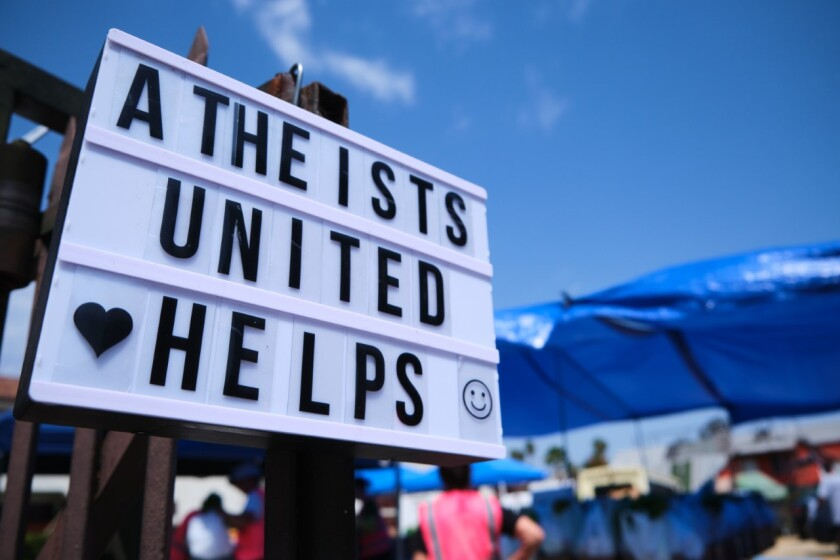 Los Angeles-based organization Atheists United hosts a monthly food giveaway