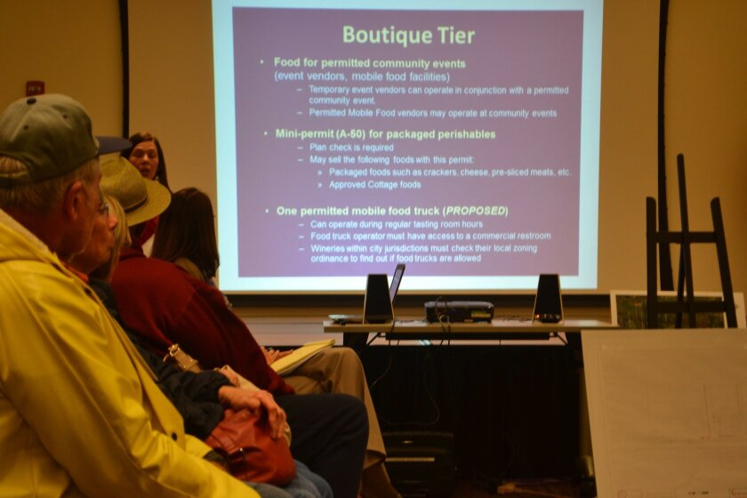 County staff present requirements for food at boutique wineries at the planning group meeting.
