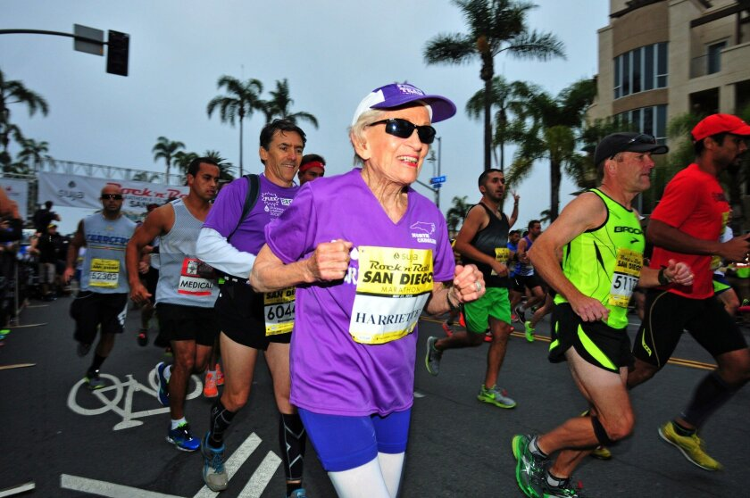 A photo of Harriette Thompson, then age 92, running in the 2015 Suja Rock 'n' Roll marathon in San Diego. She holds record as oldest woman to complete a marathon.