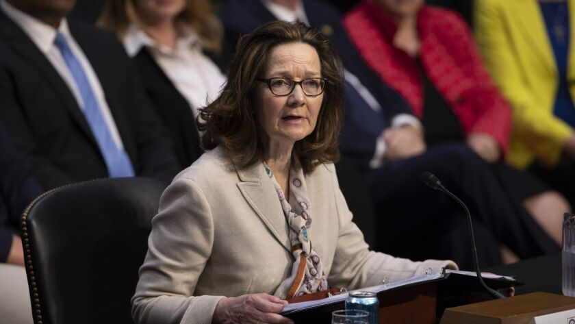 Gina Haspel, President Trump's pick to lead the CIA, testifies at her Senate confirmation hearing on Wednesday.