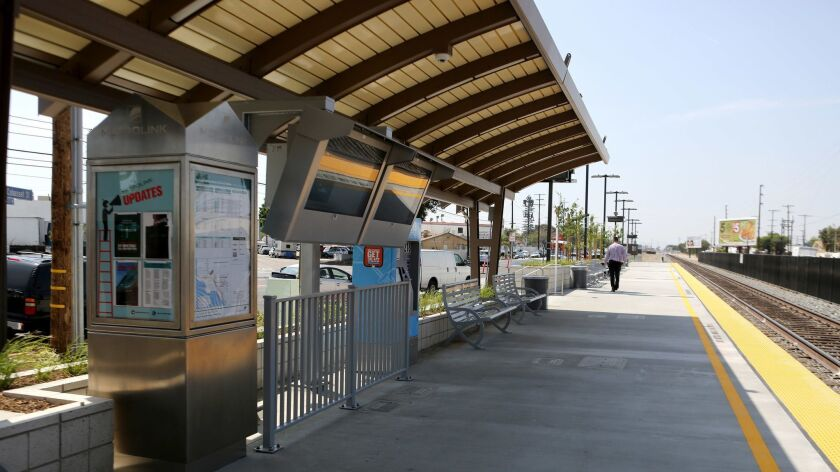 The newly constructed Burbank Airport North Metrolink Station, on Thursday, May 10, 2018. The statio