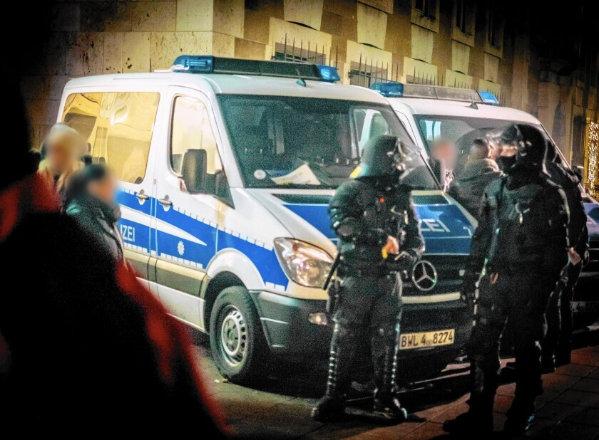 Police secure the Schlossplatz square in Stuttgart, Germany, on New Year's Eve. A series of sexual assaults that night in Stuttgart, Cologne and other cities has raised concern about Germany's welcoming of refugees.