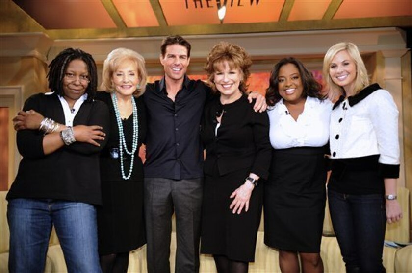 """In this image released by ABC, actor Tom Cruise, third left, poses with the hosts of the ABC daytime show """"The View,"""" from left, Whoopi Goldberg, Barbara Walters, Joy Behar, Sherri Shepherd and Elisabeth Hasselbeck during a taping, Thursday, Jan. 8, 2009, at ABC Studios in New York. The interview w"""