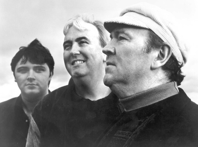 Liam Clancy, right, toured in 1996 through 1999 with singers Robbie O'Connell, center, and Donal Clancy, his son.