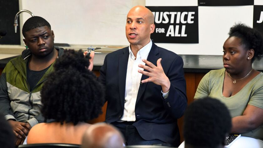 Democratic presidential candidate Sen. Cory Booker of New Jersey, seen speaking at Allen University in South Carolina on April 26, introduced legislation to study black reparations.