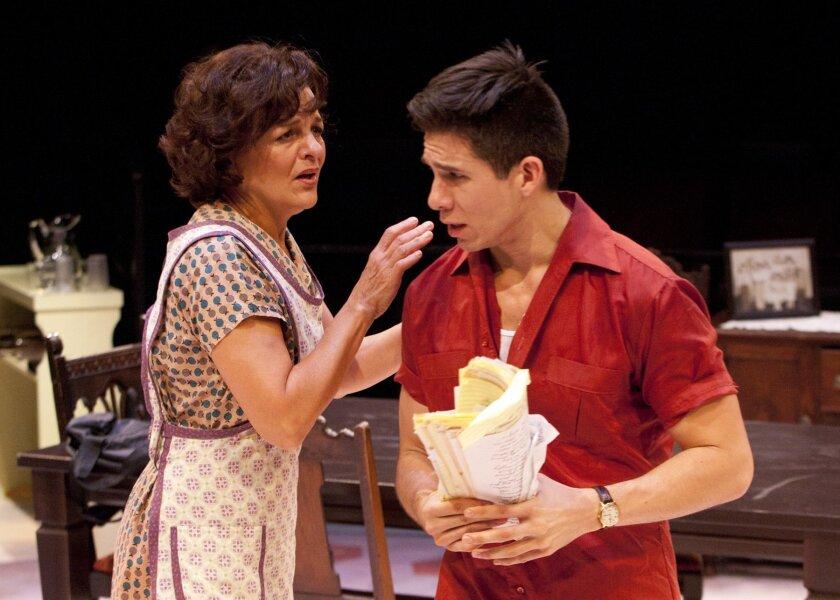 Inez Candelaria (Priscilla Lopez) and son Alejandro (Jon Rua) have a confrontation in the Matthew Lopez drama 'Somewhere,' premiering at the Old Glove Theatre in Balboa Park through Oct. 30. Henry DiRocco.