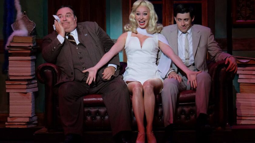 """John Massey, Siri Hafso and Bryan Banville in San Diego Musical Theatre's """"The Producers."""""""