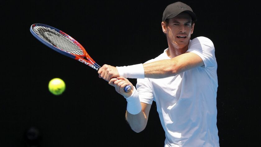 Andy Murray hits a shot during a training session in preparation for the Australian Open.