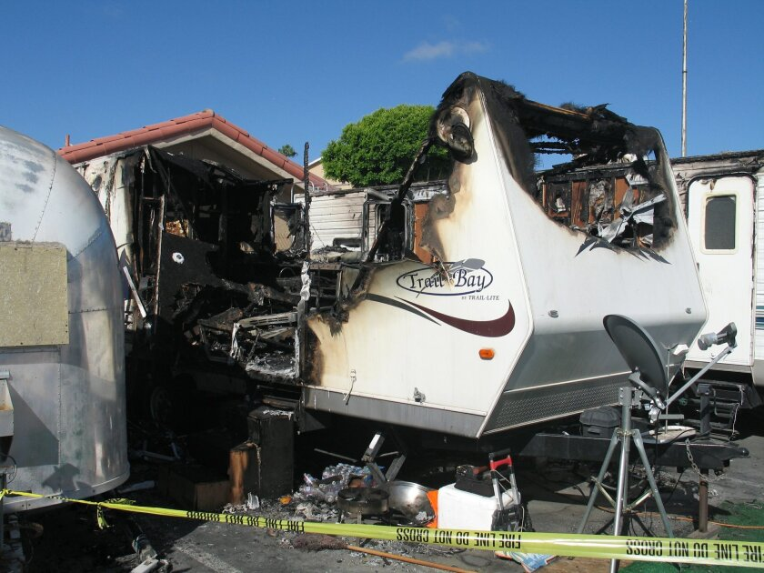 Aleksei Avila,7, was nearly burned to death in a trailer fire early Wednesday morning when the trailer owned by his father, Manny, burned. Del Mar labor foreman Dave Martinez happened upon the trailer and rescued the boy moments before the flames reached him.