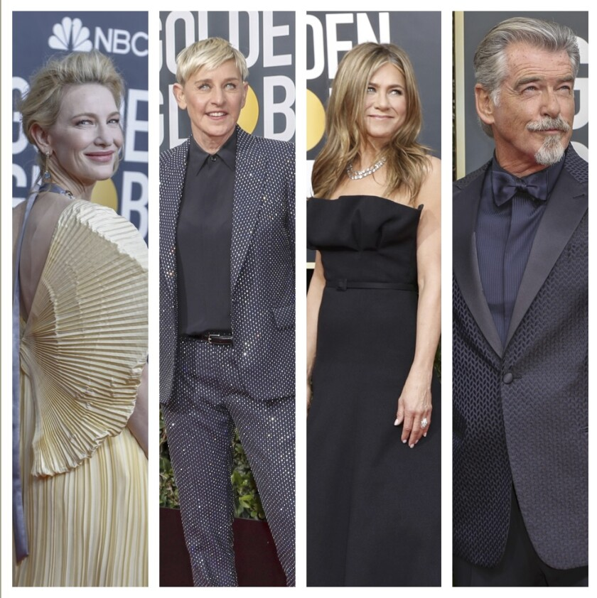 At the Golden Globes, Cate Blanchett, from left, Ellen DeGeneres, Jennifer Aniston and Pierce Brosnan. At Sunday night's ceremony, all brought up the bush fires in Australia.