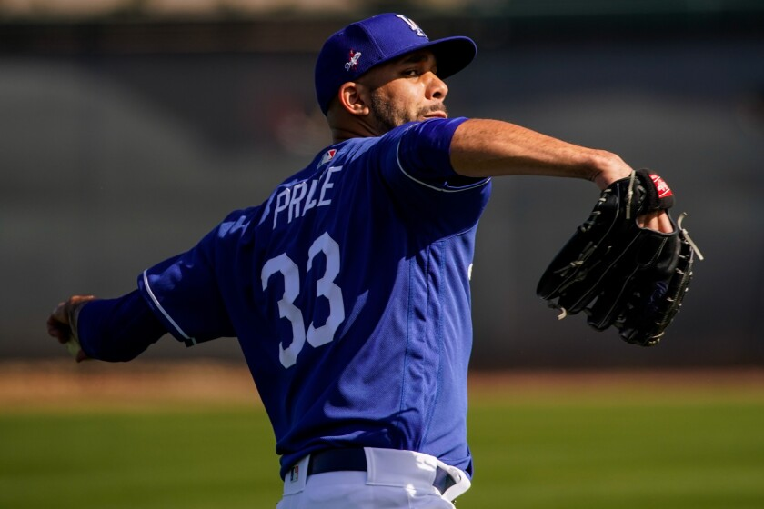 Dodgers pitcher David Price throws during spring training at Camelback Ranch on Feb. 19 in Phoenix.