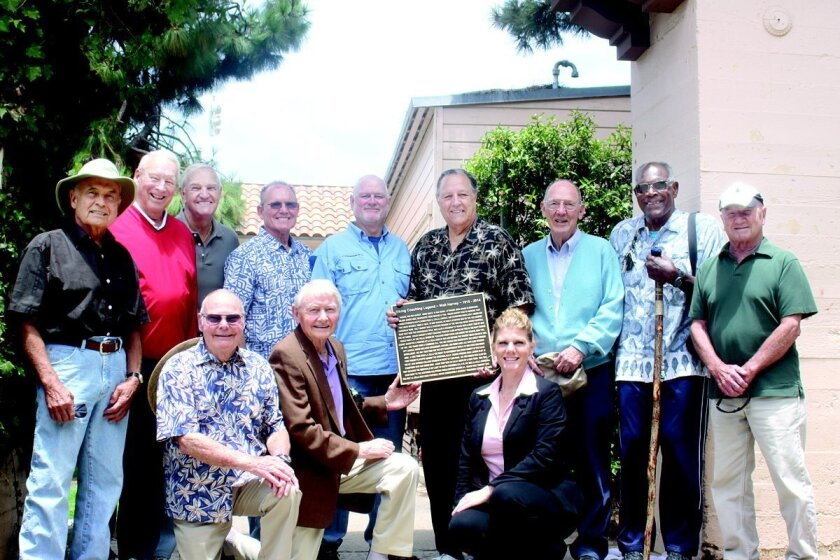 in June, La Jolla High School alumni and the family of the late coach Walt Harvey gathered at the location they would like his honorary plaque installed.