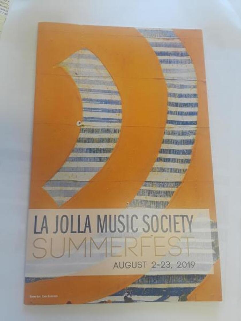 The cover of the 2019 SummerFest brochure features the art of Caio Fonseca, an American contemporary painter whose pieces depict curvilinear shapes that evoke piano lids, quarter notes, and the bodies of violins and violas. Some works will be exhibited at the Aug. 15, 2019 concert.
